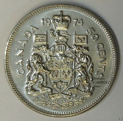1974 Canada 50 Cents Coat of Arms BU