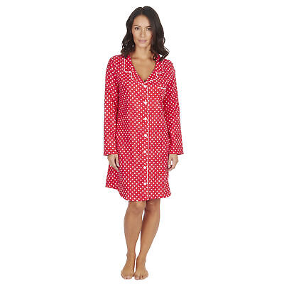 Womens Ladies Polka Dot Nightshirt 100% Cotton Flannel Pyjamas Button Up Long