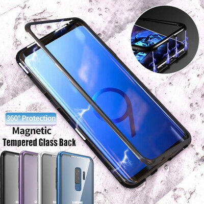 Magnetic Adsorption Metal Case fr Samsung S8/S9+/Note8 Tempered Glass cover LOT