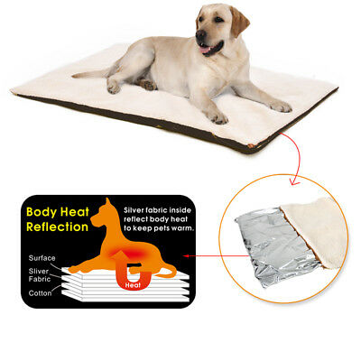 UK Self Heating Pet Dog Mat Bed Pad Soft Warm Cat Rug Thermal Washable Pillow