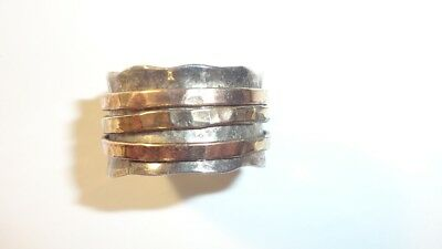 Sterling Silver Hammered Ring Band Brass & Copper Hammered Spinner sz 6.5