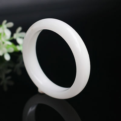 62mm beautiful Natural Chinese white jade hand-carved bracelet