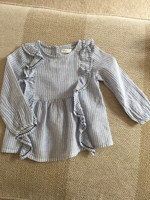 Next Baby Girl Blue Frill Top