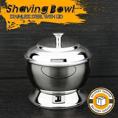 High Grade German Stainless Steel Polished Shaving Soap Bowl with Lid NEW