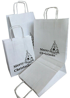 Merry Christmas, White Printed Paper Gift Bags or Clean sample,Manilla Two Sizes