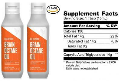 Bulletproof Brain Octane MCT Oil, Perfect for Keto and Paleo Diet, 2 Pack