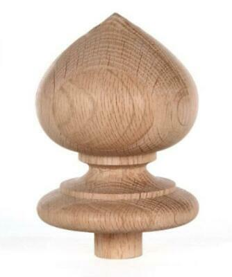 "Staircase Spade Finial Newel Post Cap, Red Oak Wood (4"" H X 3 5/16"" W) FN-0100"