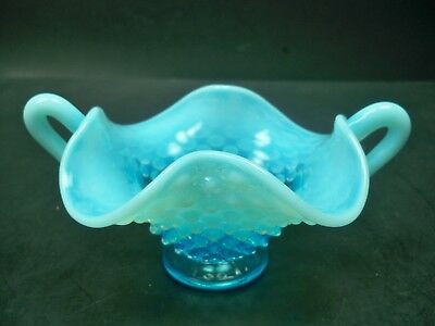 Vintage Fenton Hobnail Blue Opalescent Glass Small Two Handled Nappy