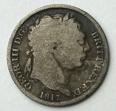 Dated : 1817 - Silver Coin - Sixpence - 6d - King George III - Great Britain