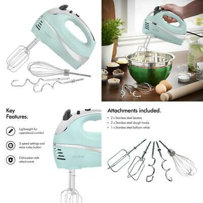 VonShef BLUE 250W Hand Mixer Whisk With Chrome Beater, Dough Hook, 5 Blue