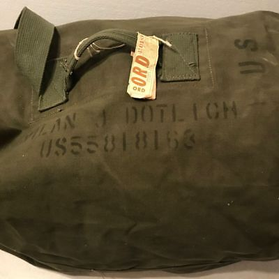 "Vintage US Army Duffle Bag Canvas Olive Green Traveler Military Issue 38"" x 20"""