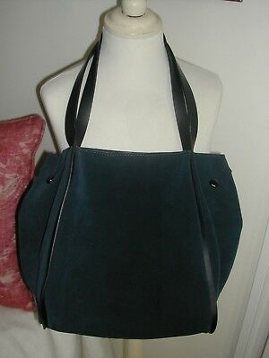 0eb3258daaf ZARA NAVY BLUE Suede and Leather Slouchy Bag - £19.99