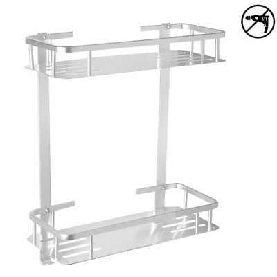 Aluminium Two Tier Wall Hanging Bathroom Shelf,No Drilling Wall Mounted FASTSHIP