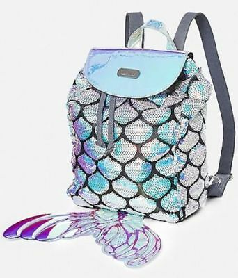 Justice MINI Drawstring Backpack Mermaid Tail Sequin Silver Shimmer & Shine NWT