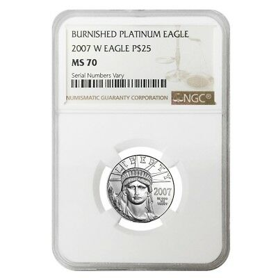 2007 W 1/4 oz $25 Burnished Platinum American Eagle NGC MS 70