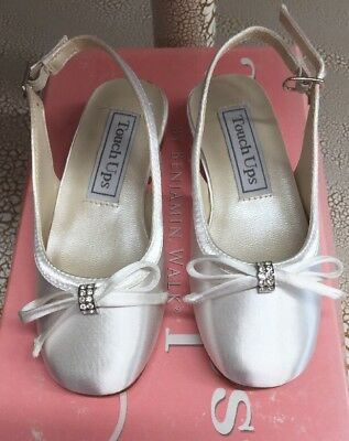 """c7ad6253ac3 TOUCH-UPS Toddler Girls White Satin shoes """"Rosie""""  149"""