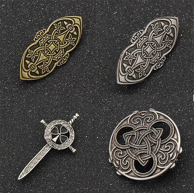 Retro Viking Brooch Pins Norse Celtic Sword Compass Badge Amulet Pin Accessories