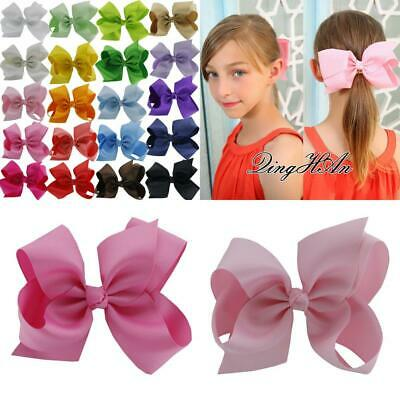 QingHan Baby Girl Grosgrain Ribbon 6'' Large Boutique Hair Bows Alligator...