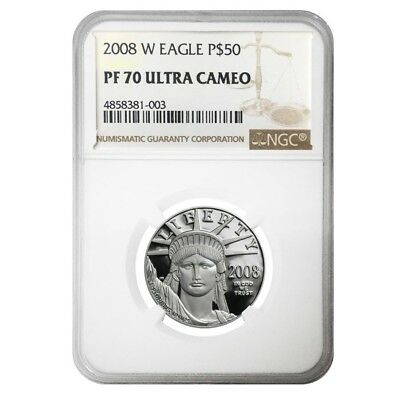 2008 W 1/2 oz $50 Platinum American Eagle Proof Coin NGC PF 70 UCAM