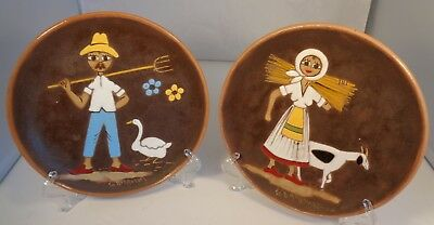 Vintage Redware PAIR Man Woman Cow Stippling Duck Plates 9 Wall Hang Country