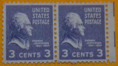 Two Unused 1938 Thomas Jefferson 3 Cents Stamps United States Postage Violet
