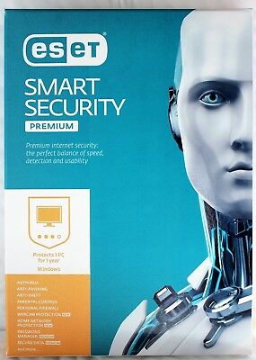 ESET Smart Security Premium 1 User 1 Year [CD-ROM] Windows 10,8.1,8,7,Retail Box