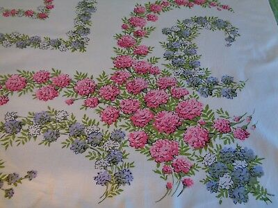 Vintage Tablecloth Flowers White Pink Lilac 54 X 61 Country Farmhouse COTTON