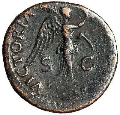 """Domitian as Caesar AE As """"VICTORIA AVGVST Victory on Prow"""" Under Titus RIC 286"""