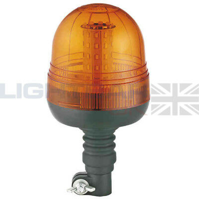 Flexible DIN Pole Mount Tractor Digger Rotating Flashing Amber LED Strobe Beacon