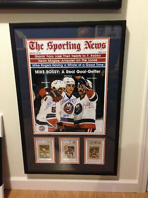 """Bossy/Trottier/Potvin Autographed """"The Sporting News"""" Poster and Rookie Cards"""