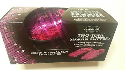 Fine Life Comfortable Memory Foam Two Tone Sequin Bed/House Slippers