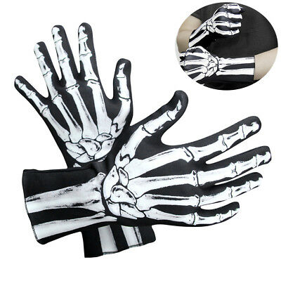 Adult Skeleton Gloves Mens Halloween 3D Bones Black Fancy Dress Props Accessory