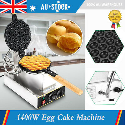 1400W 220V Electric Egg Cake Oven Puff Bread Maker Stainless Waffle Bake Machine