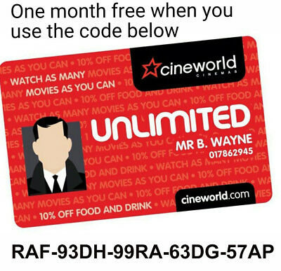 Cineworld Unlimited Card - 1 MONTH  CODE RAF-93DH-99RA-63DG-57AP