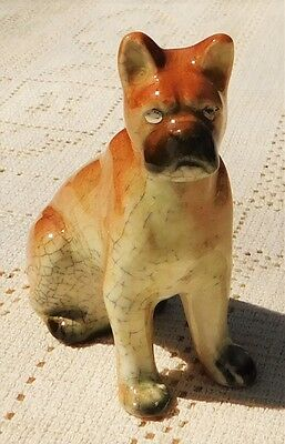 ANTIQUE 1920's-30's HAND PAINTED PORCELAIN BOXER DOG FIGURINE - MADE IN JAPAN