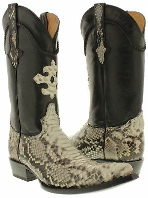 Mens Python Snake Skin Real Leather Cowboy Boots Rodeo Western 3x Pointed Toe