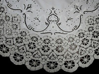 """Antique French linen Cluny lace round tablecloth 32"""""""