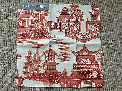 "SCHUMACHER Nanjing Coral Linen Remnant New 16.75"" X 16.75"""