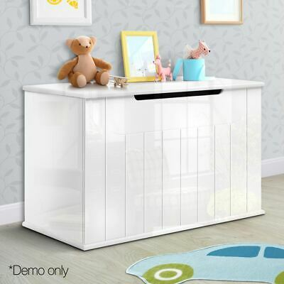 High Gloss Kids Toy Box Nursery Wooden Storage Cabinet Chest Blanket Furniture