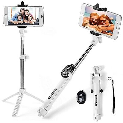 White 3in1 Handheld Selfie Stick Tripod & Bluetooth For iPhone XR XS XS Max X