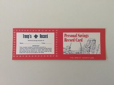 BSA Boy Scouts Personal Troop Savings Record Card, No. 4250, 150M978