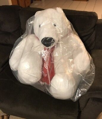 NEW GIANT HUGE Coca Cola Coke Plush 30 Inch Polar Bear w/ Scarf NIB