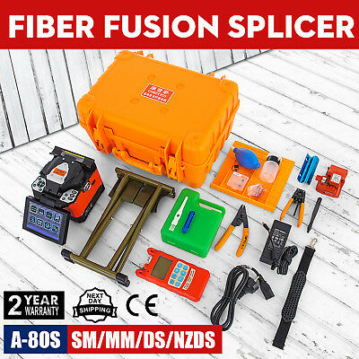 A-80S Fiber Optic Splicing Machine Fiber Fusion Splicer FTTH Optical 110V GOOD
