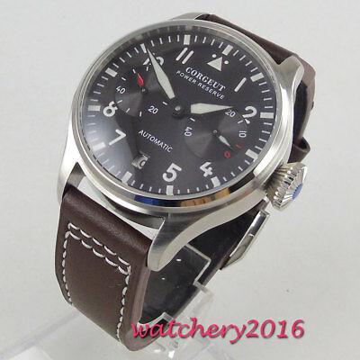 42mm Corgeut Black dial Datum Gangreserve Automatisch Movement Uhr men's Watch