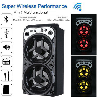 Wireless Bluetooth Speaker Super Bass MP3 Music Player with USB/TF/AUX/FM Radio