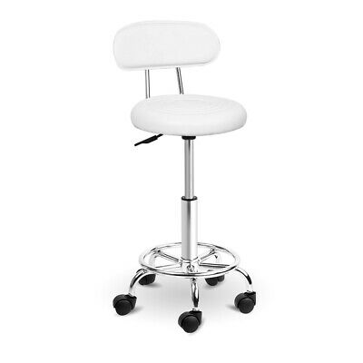 Artiss Salon Stool Round PU Swivel Chair Backrest Barber Hydraulic Height White