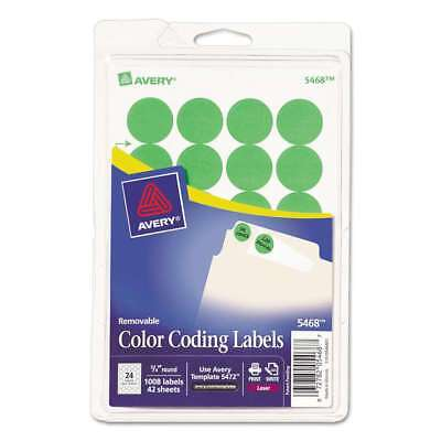 """Avery® Printable Removable Color-Coding Labels, 3/4"""" dia, Neon Gr 072782054687"""