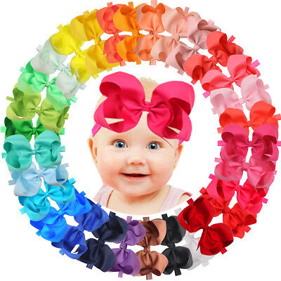 30Pcs 6 inch Bows Baby Girls Headbands Grosgrain Ribbon Big Hair Bows for Infant