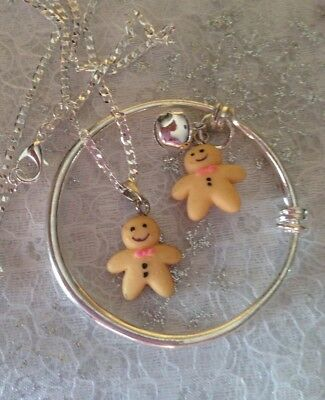 """Gingerbread Man Charm,sterling Silver 16""""Chain+PlainBaby Child Bangle/in A Box"""