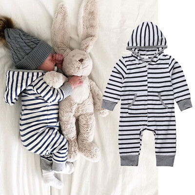 UKStock Newborn Baby Boys Girls Hooded Romper Bodysuit Jumpsuit Kids Outfit Sets